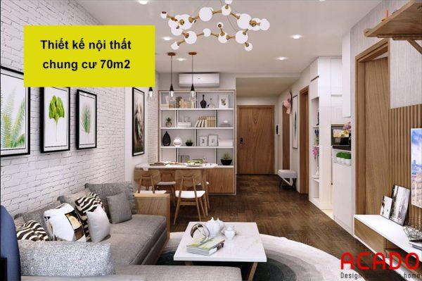 Thiết kế nội thất chung cư 70m2 hiện đại, sang trọng