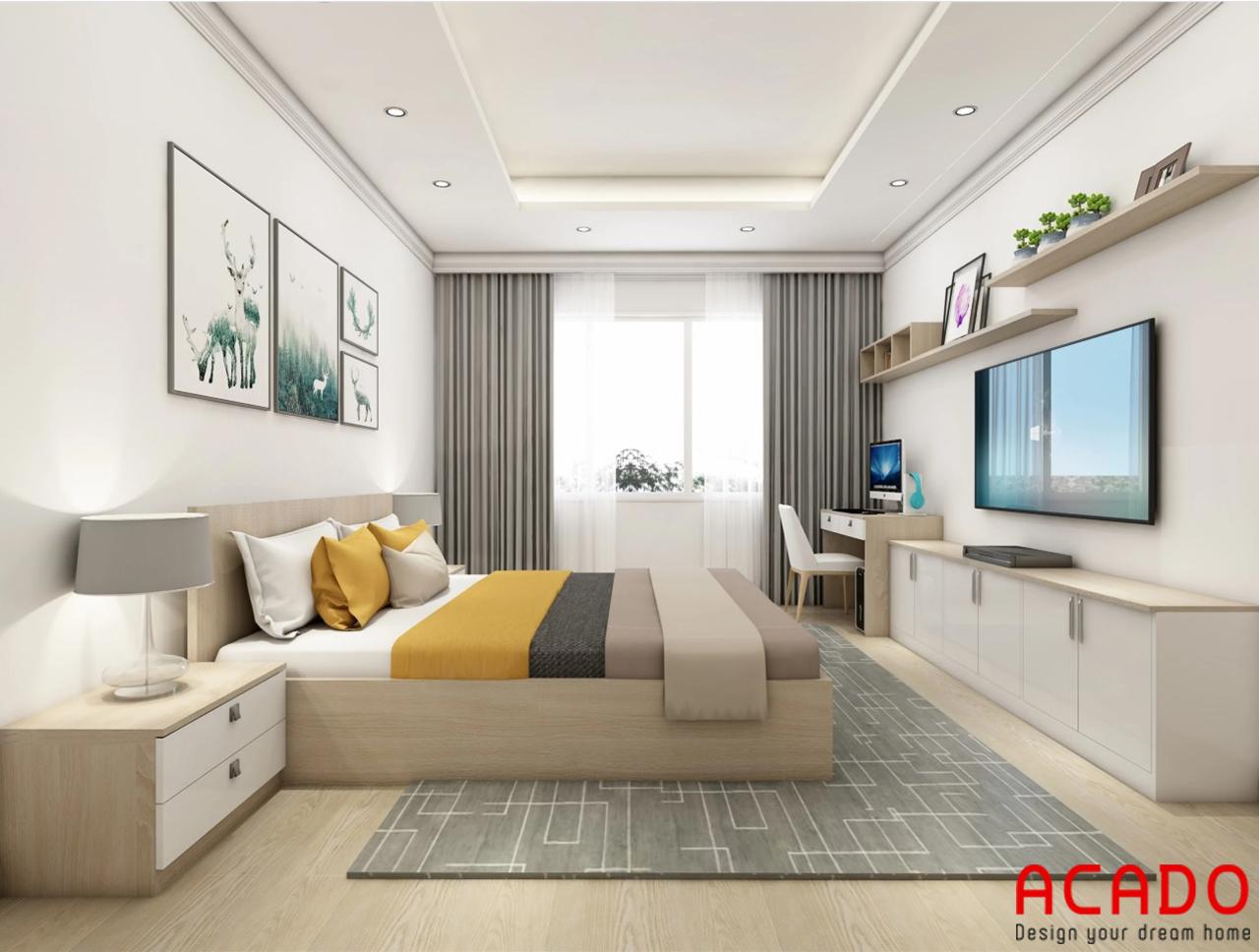 Phòng ngủ được làm từ chất liệu gỗ công nghiệp hiện đại và trẻ trung
