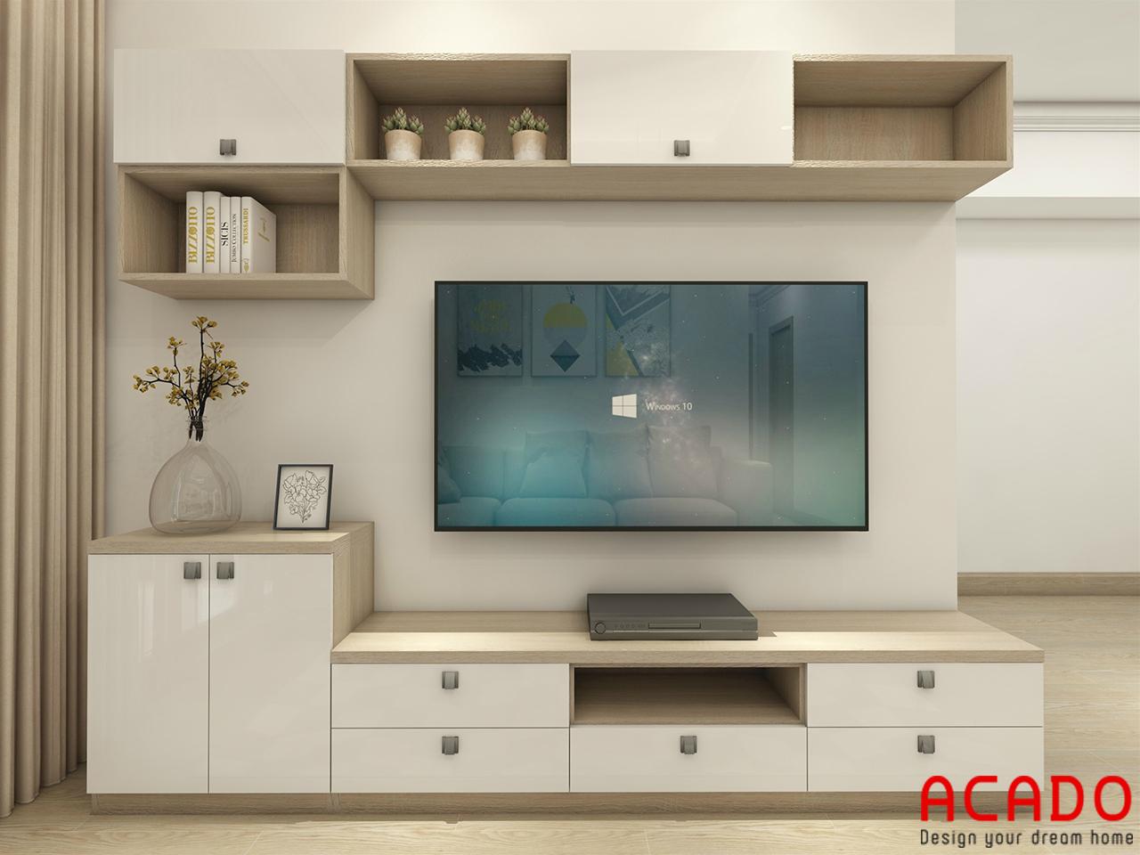 Thiết kế kệ tivi kết hợp tủ trang trí mang tính thẩm mỹ cao