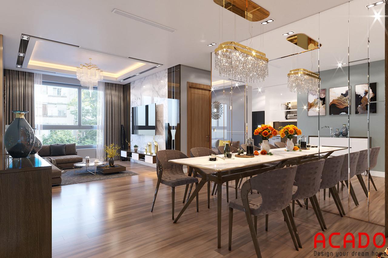 Mẫu thiết kế phòng bếp cho những căn chung cư diện tích lớn