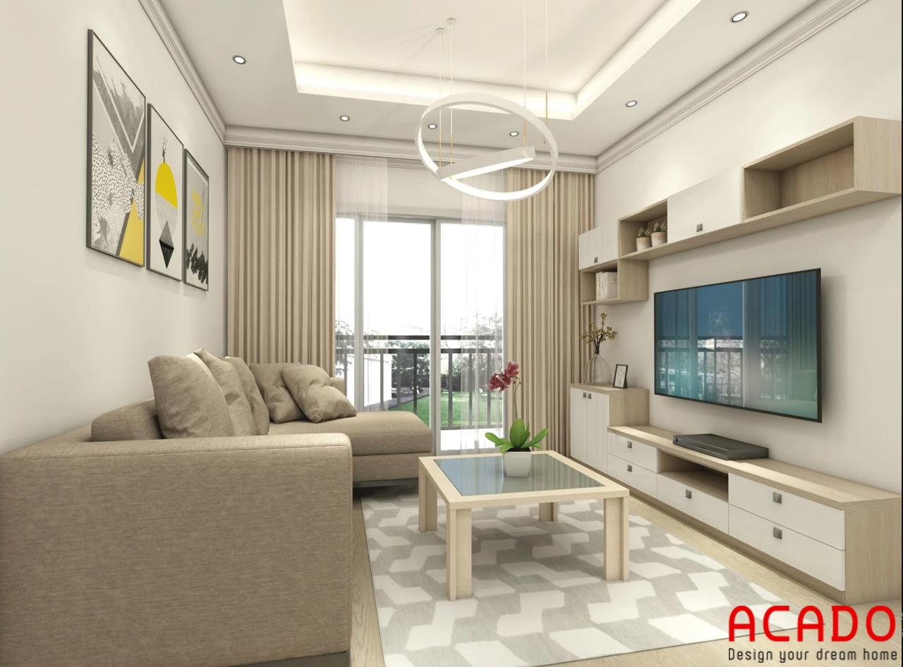 Mẫu thiết kế phòng khách đơn giản , tone màu kem là chủ đạo