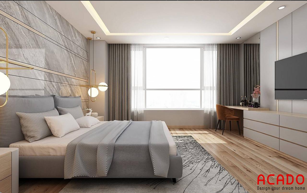 Phòng ngủ chính được thiết kế với tone màu ghi làm chủ đạo