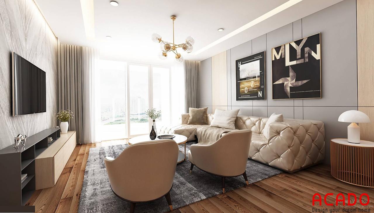 Góc nhìn phòng khách hướng ra cửa chính - thiết kế nội thất chung cư 130m2