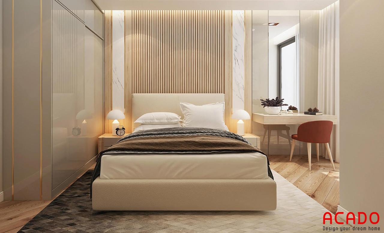 Phòng ngủ ấm cúng và tạo cảm giác thoải mái vì bố trí đồ gọn gàng, ngăn nắp