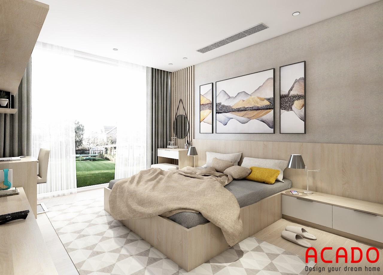 Thiết kế nội thất phòng ngủ cho chung cư sử dụng gam màu kem nhẹ nhàng