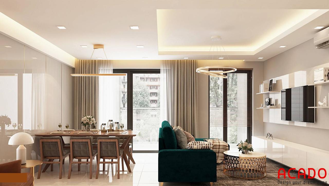 Không gian nội thất phòng khách của căn chung cư 100m2