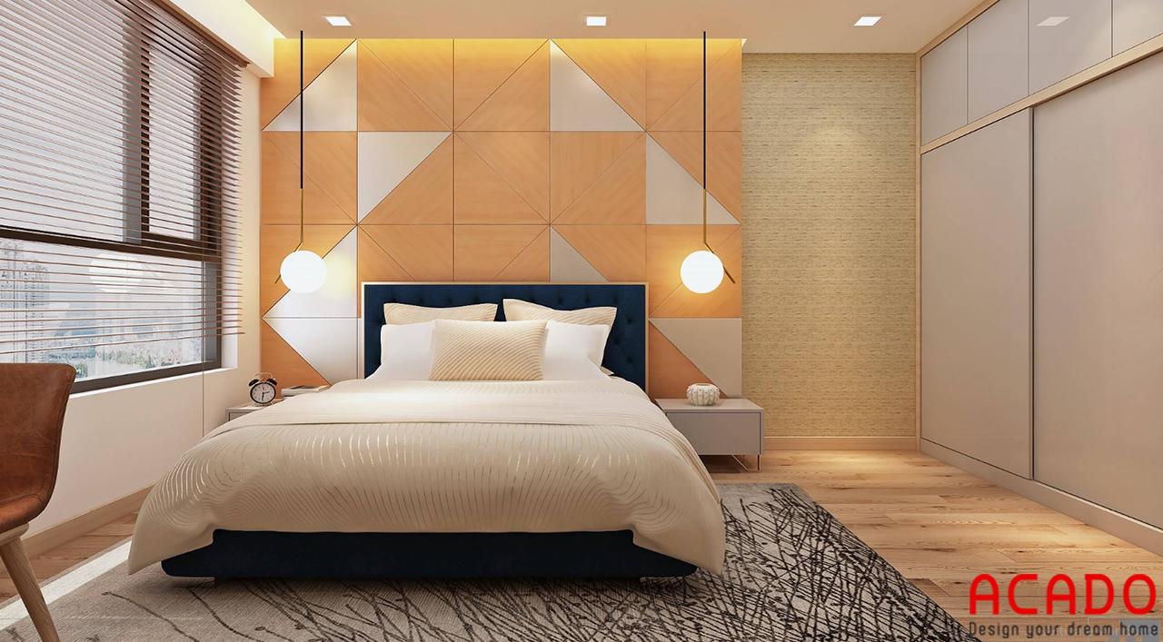 Vách trang trí đầu giường cho phòng ngủ được làm từ gỗ tự nhiên