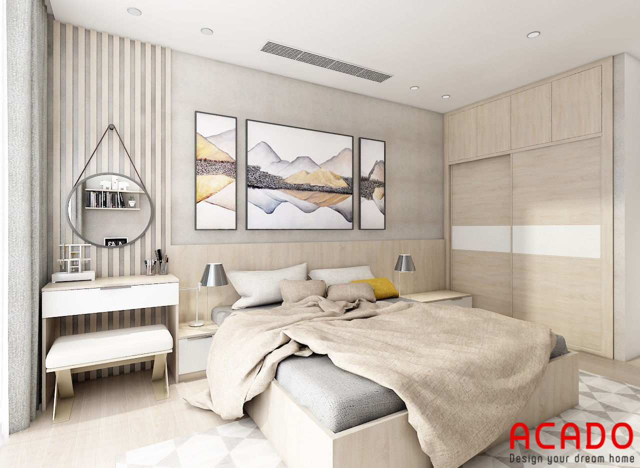 Phòng ngủ thiết kế đơn giản nhưng vẫn đầy đủ công năng sử dụng