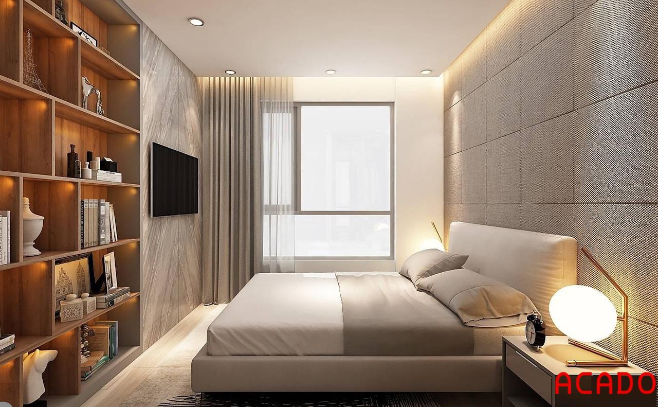 Phòng ngủ chính thiết kế rộng rãi có thiết kế thêm tủ trang trí