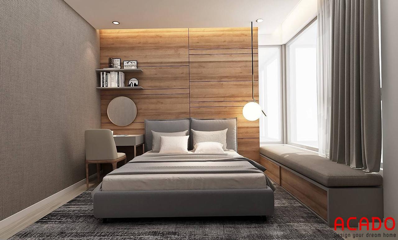Sử dụng vách trang trí bằng gỗ để tạo cảm giác ấm cúng cho phòng ngủ