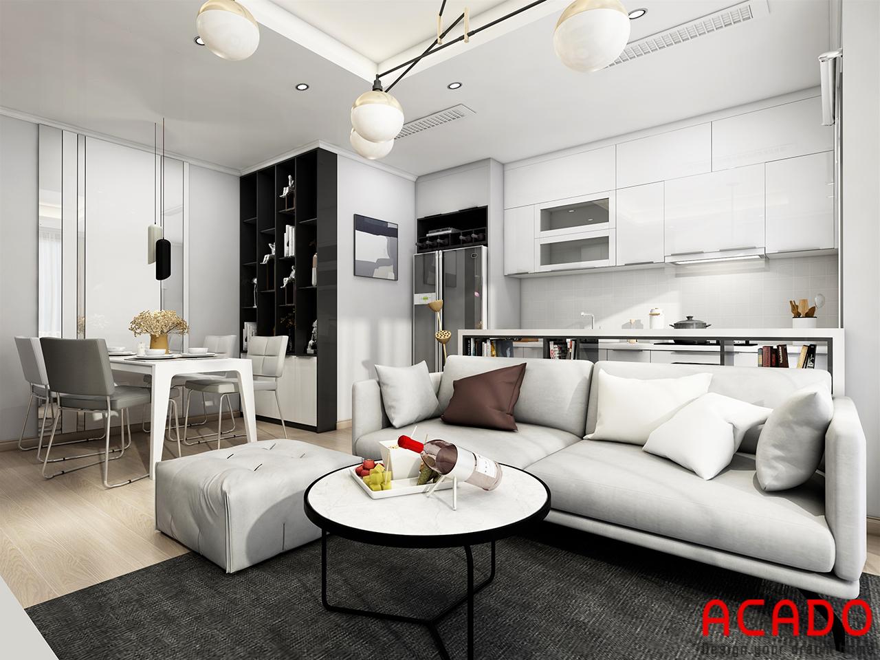Phòng khách bên cạnh phòng bếp bố trí bộ sofa vải hiện đại