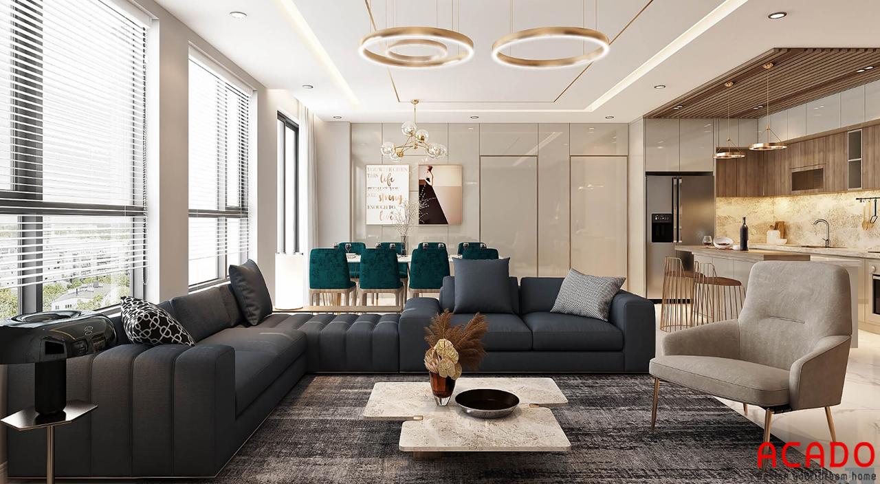 Với không gian rộng 150m2, ACADO thiết kế phòng khách rộng dãi và thoáng mát