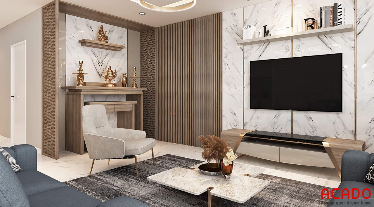 Thiết kế bàn thờ và kệ tivi hiện đại cho không gian phòng khách