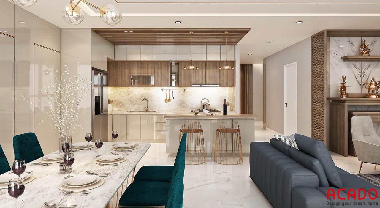Phòng bếp bố trí độ bàn ăn bà bộ tủ bếp hiện đại, trẻ trung