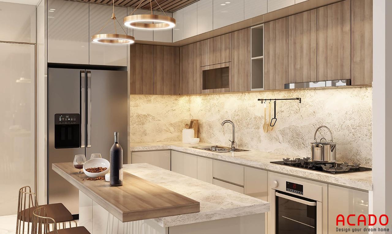 Tủ bếp gỗ công nghiệp trắng kết hợp màu vân gỗ thu hút mọi ánh nhìn