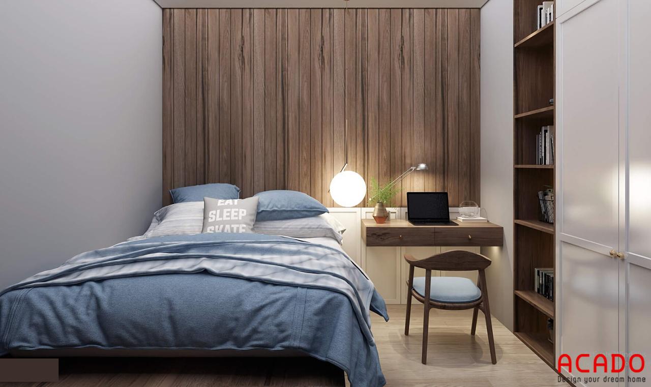 Không gian phòng ngủ nhỏ nhưng vẫn đầy đủ công năng sử dụng