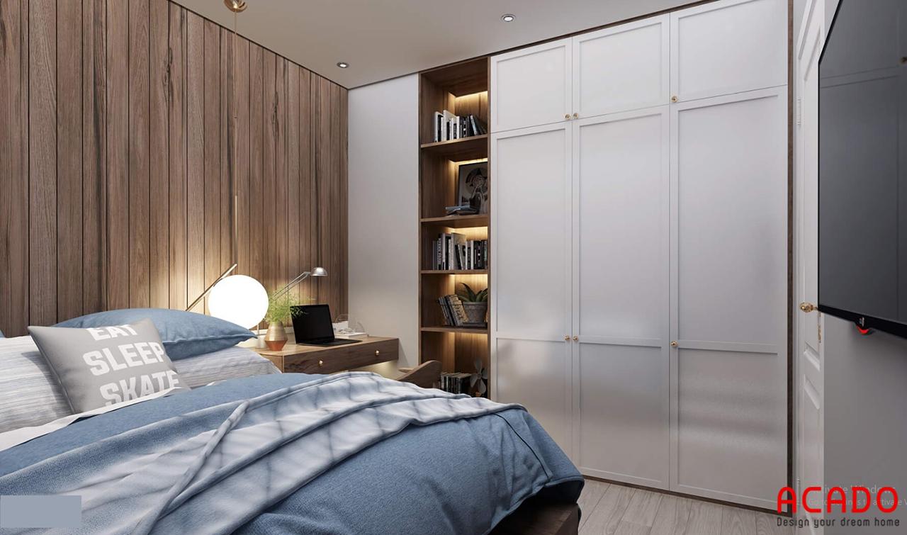 Mẫu phòng ngủ thiết kế tủ quần áo hiện đại chất liệu gỗ công nghiệp