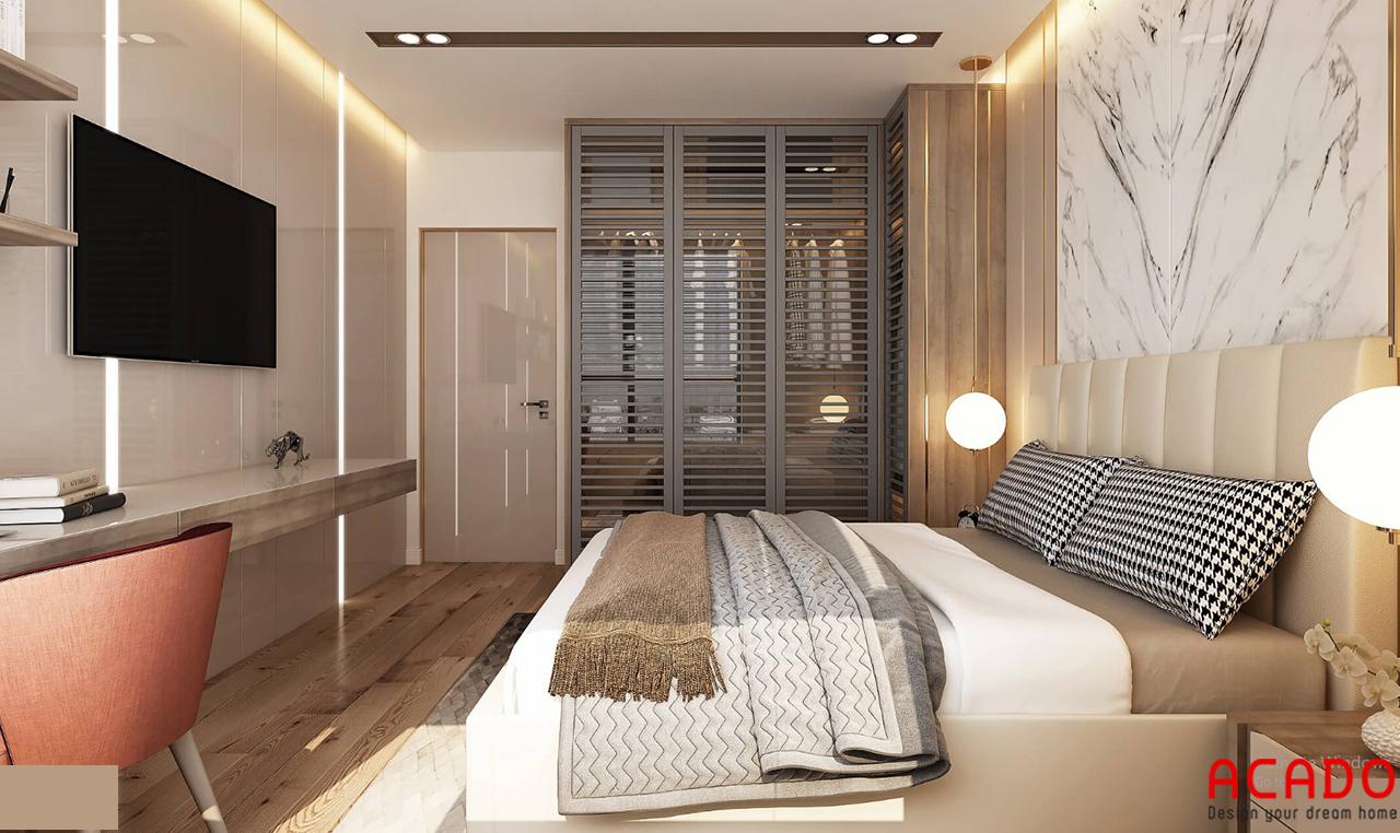 Phòng ngủ được thiết kế hiện đại, tinh tế - thiết kế nội thất chung cư 150m2