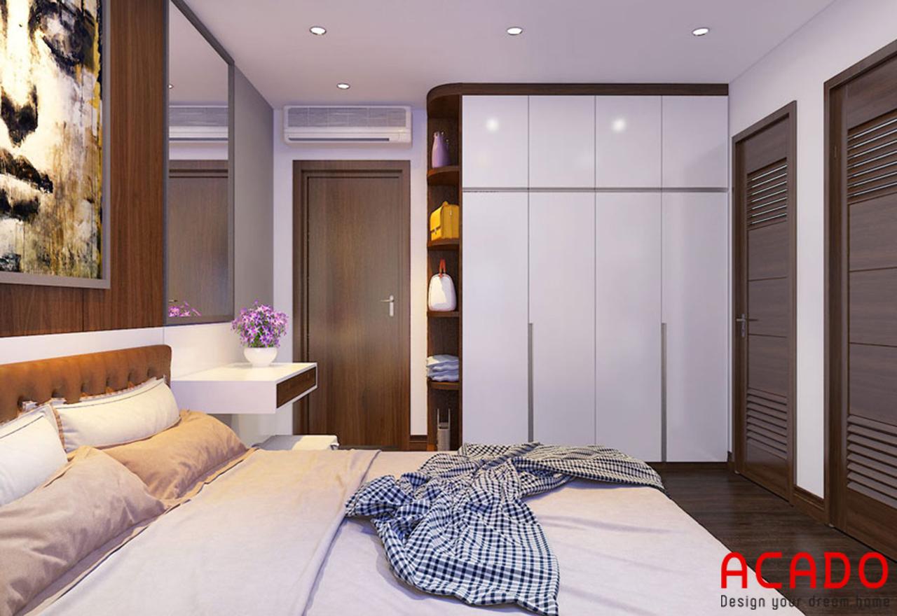 Phòng ngủ sử dụng chất liệu gỗ tự nhiên màu trắng kết hợp màu vân gỗ