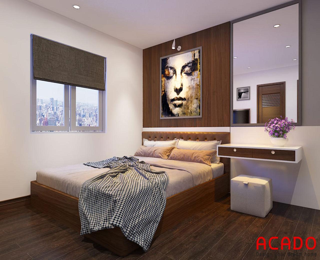 Giường ngủ thiết kế cạnh của sổ để lấy ánh sáng và tạo cảm giác thông thoáng khi nghỉ ngơi