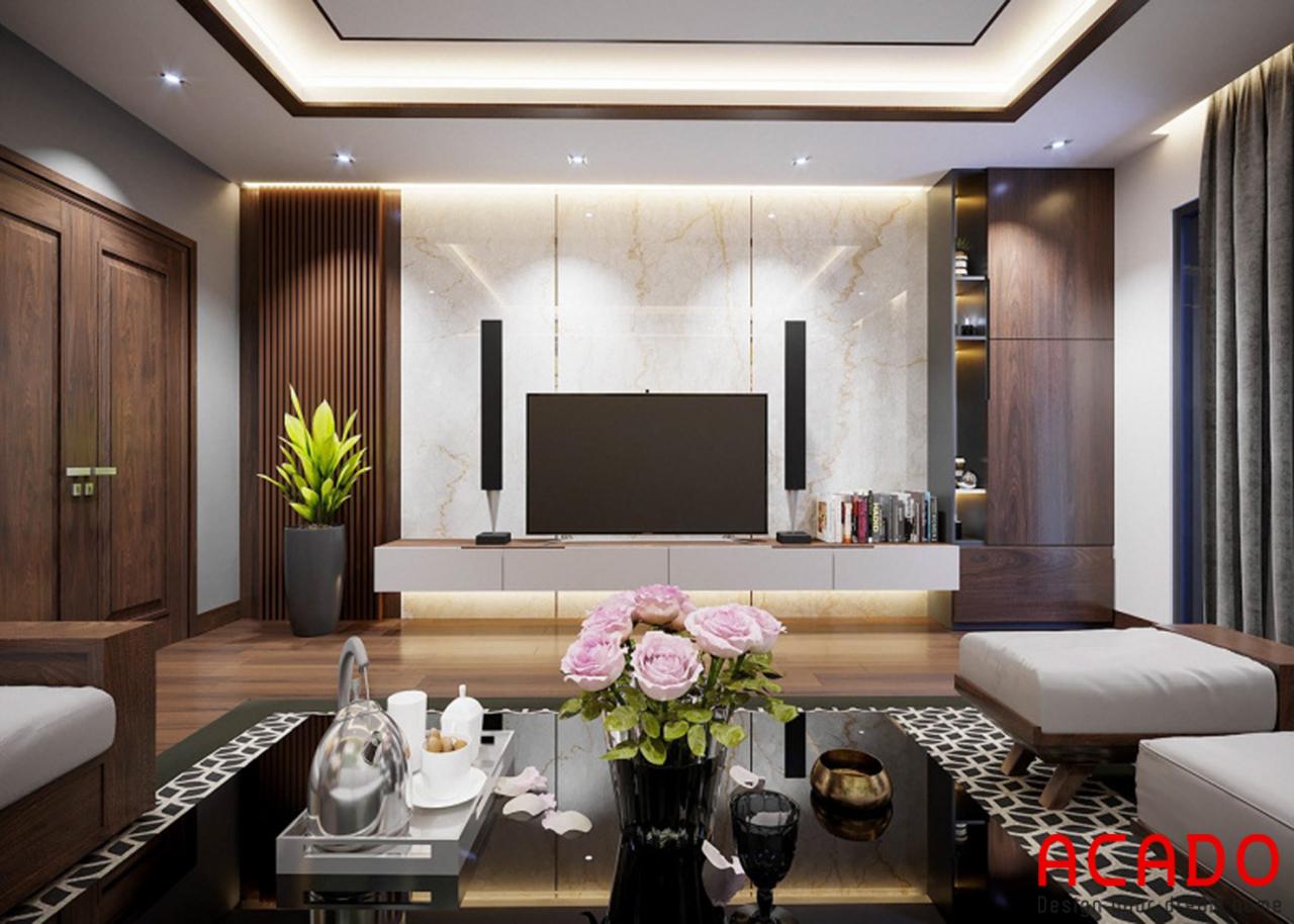 Không gian phòng khách rộng dãi và thoáng mát, bố trí đồ nội thất tone màu trắng nâu