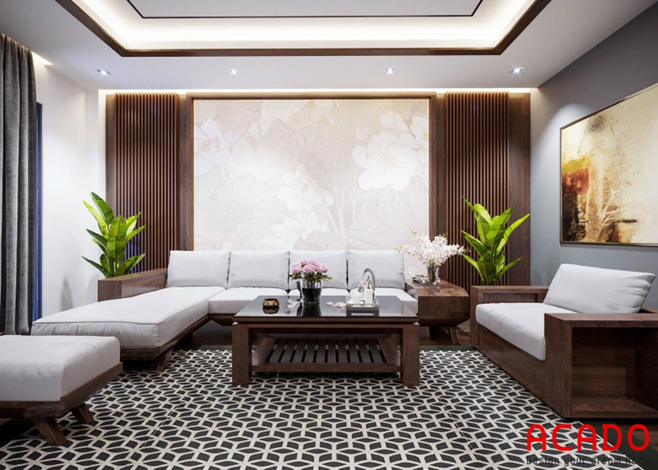 Hình ảnh bộ sofa sang trọng thiết kế cho phòng khách chung cư rộng 170m2