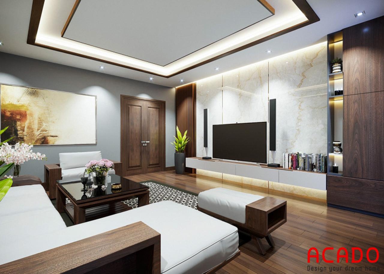 Bộ sofa gỗ có thêm đêm trắng tạo điểm nhấn cho phòng khách