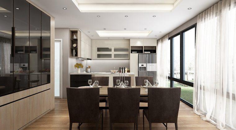 Phòng bếp thiết kế bộ bàn ăn màu nâu sang trọng, tủ bếp trắng nổi bật