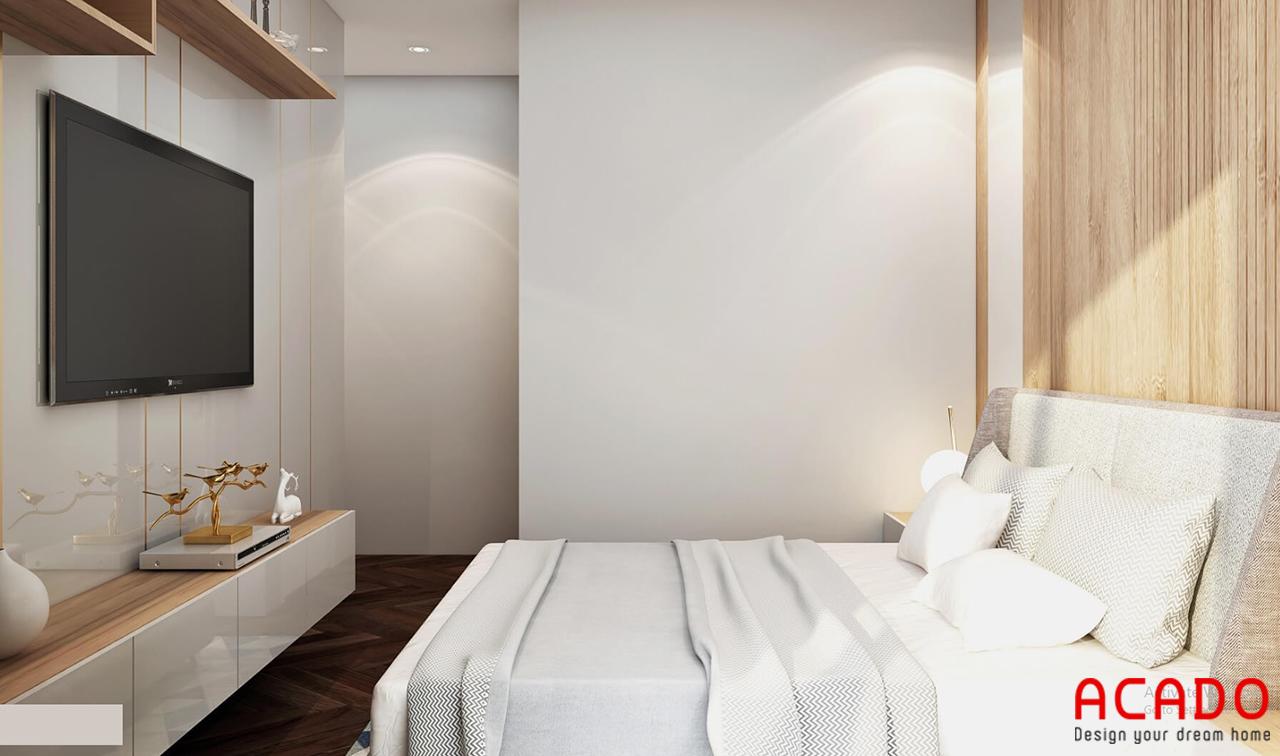 Phòng ngủ 02 sử dụng tone màu trắng tạo cảm giác rộng dãi, thông thoáng