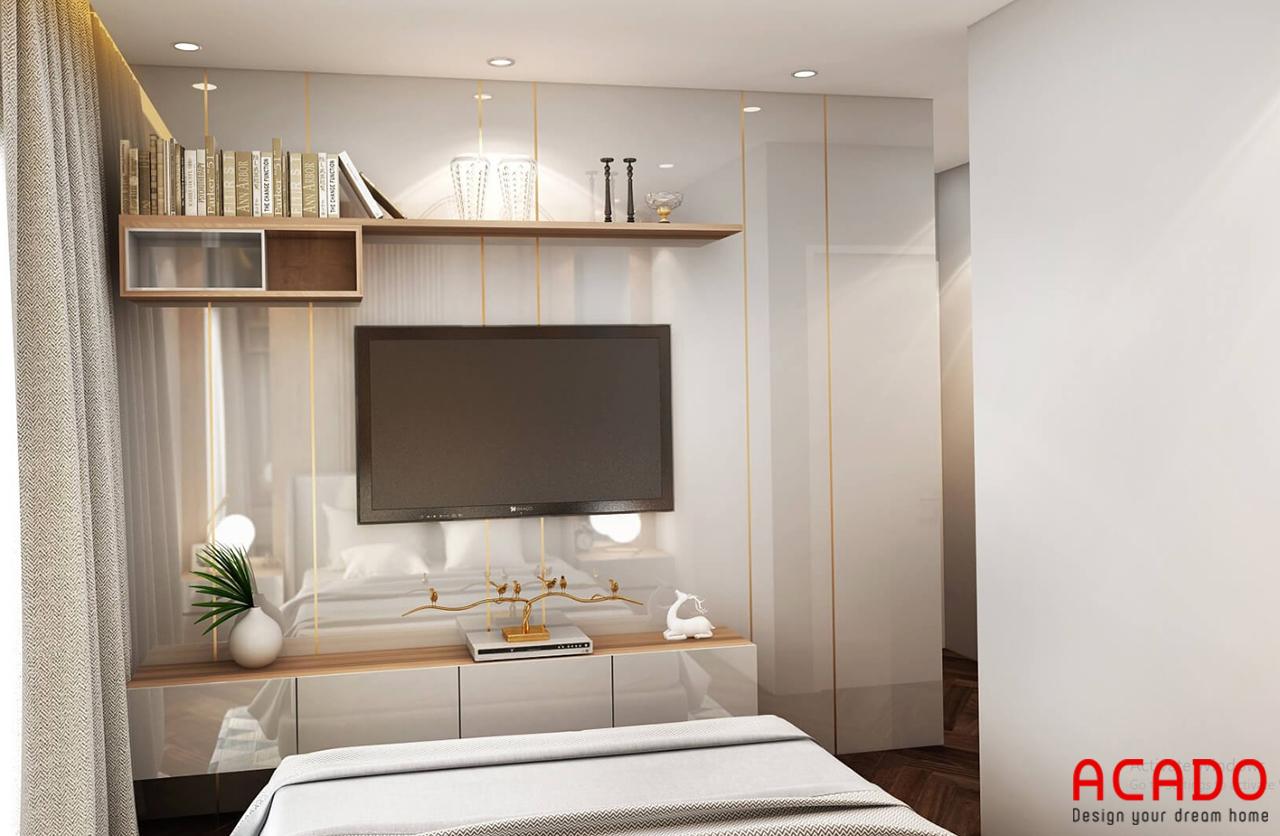 Bố trí kệ tivi và kệ trang trí cho phòng ngủ hiện đại
