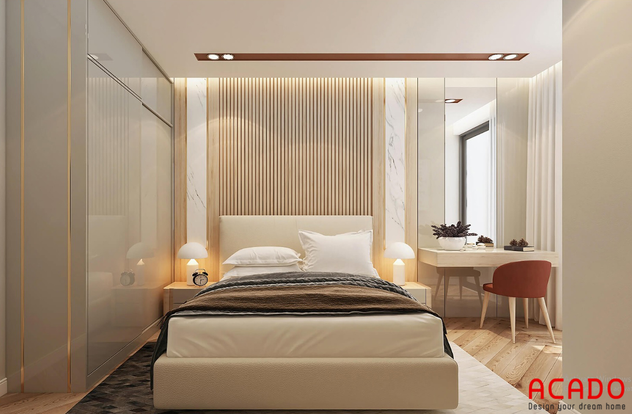 Thiết kế tủ quần áo cánh lùa tiết kiệm không gian - thiết kế nội thất chung cư 2 phòng ngủ