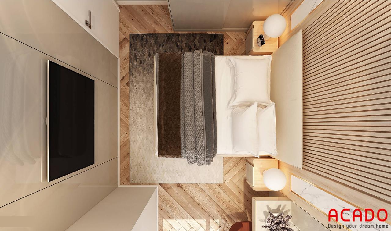 Nội thất phòng ngủ 01 : phòng ngủ thiết ké đơn giản, tivi treo để tiết kiệm diện tích