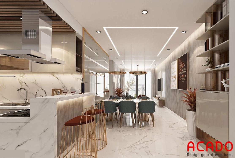 Không gian phòng bếp và phòng khách - nội thất ACADO