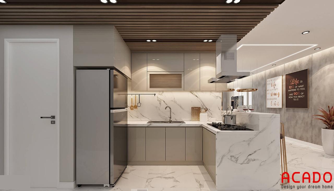 Phòng bếp với thiết kế bộ tủ bếp chữ L tiết kiệm không gian góc