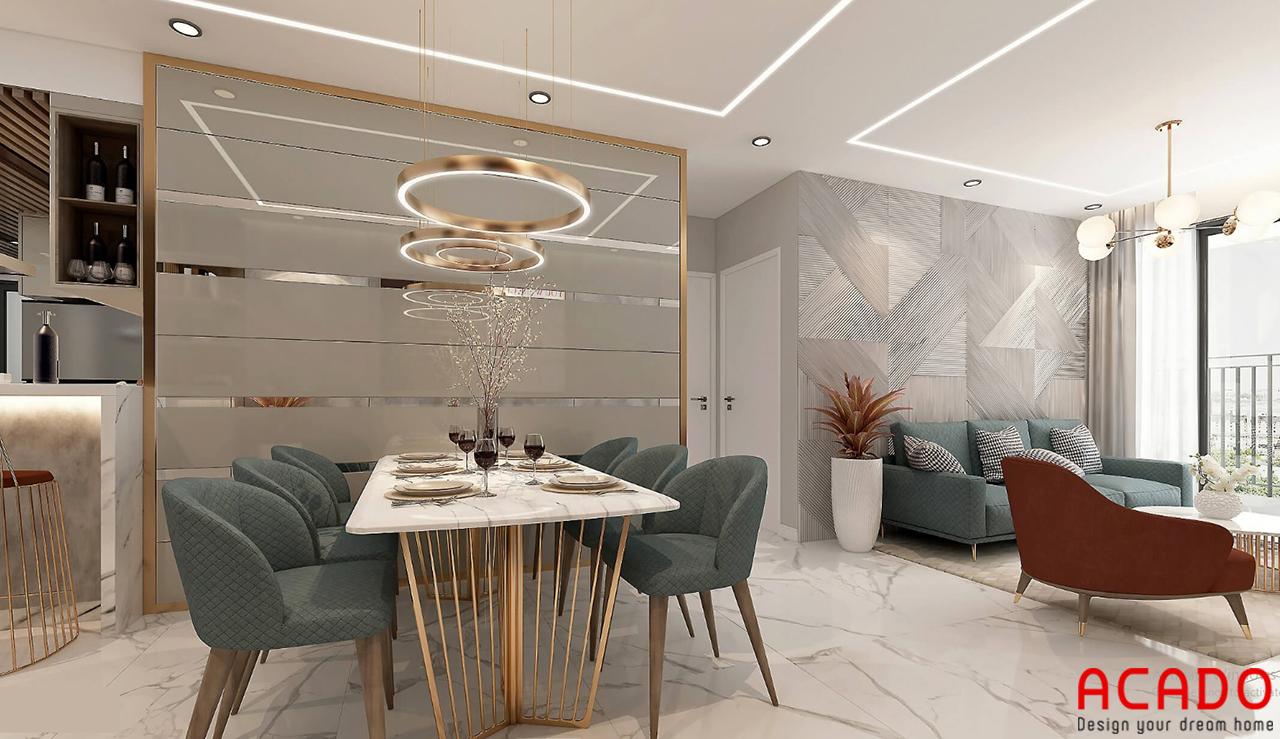 Bộ bàn ghế ăn màu sắc đồng bộ với bộ sofa phòng khách - nội thất ACADO