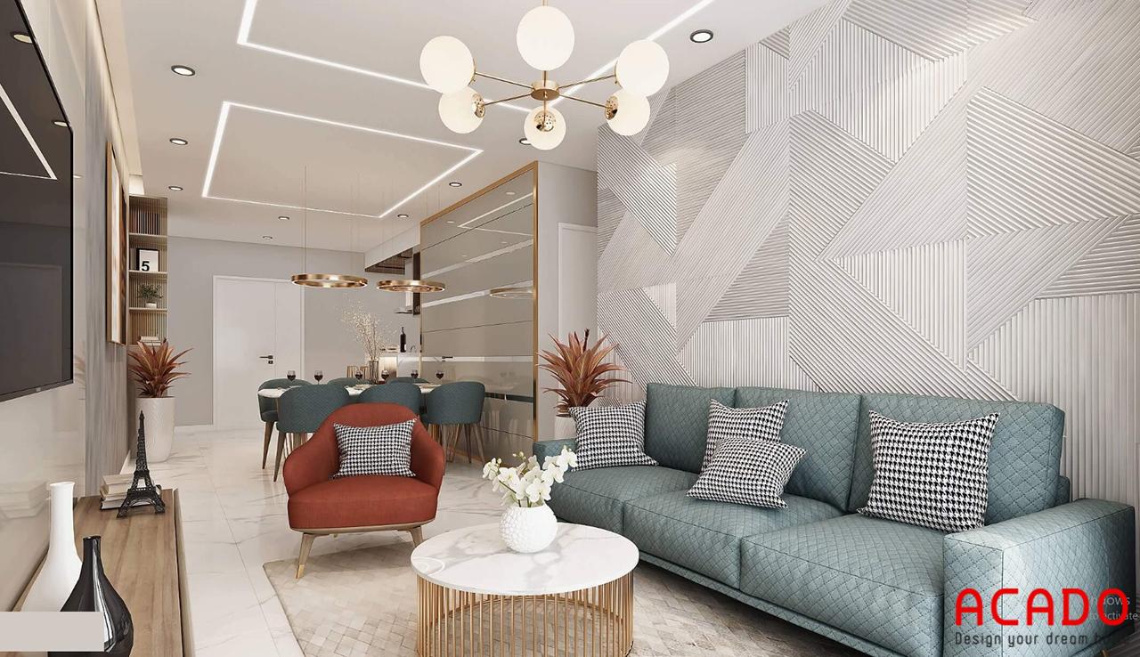 Không gian phòng khách bố trí kiểu dáng hiện đại, trẻ trung với bộ sofa vải làm điểm nhấn