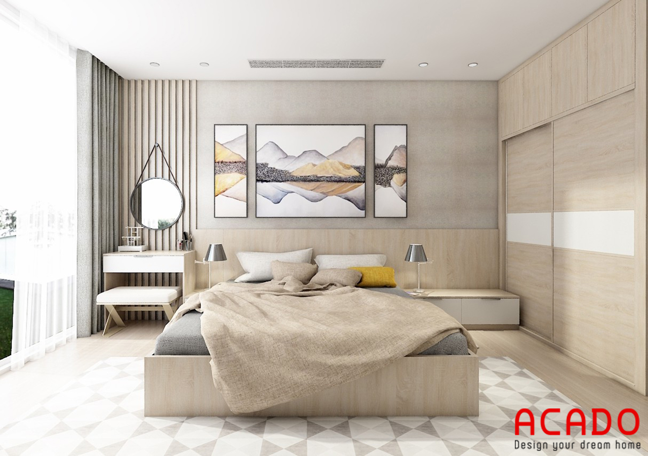 ACADO thiết kế tủ quần áo cánh lùa để tiêt kiệm diện tích cho không gian phòng ngủ