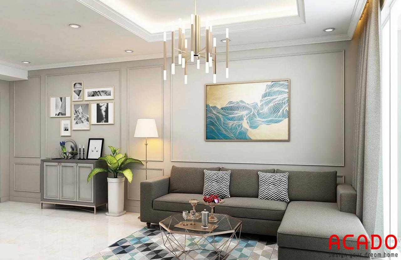 Bộ sofa xám cho không gian phòng khách thêm sang trọng, ấm cúng