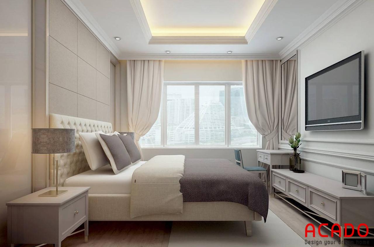 Phòng ngủ thứ 3 trong căn hộ chung cư 200m2 ACADO lên thiết kế với những màu sắc tươi sáng làm chủ đạo