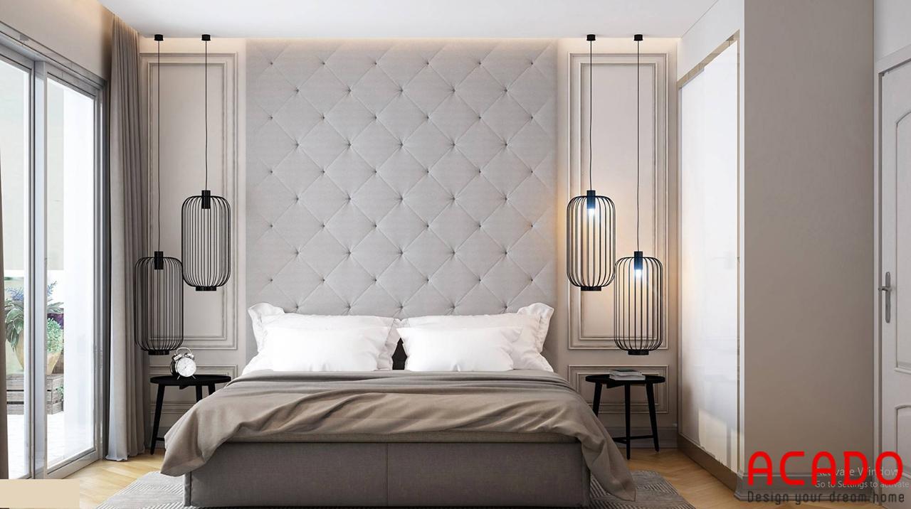 Phòng ngủ sang trọng với các gam màu xám , ghi tạo cảm giác thoải mái