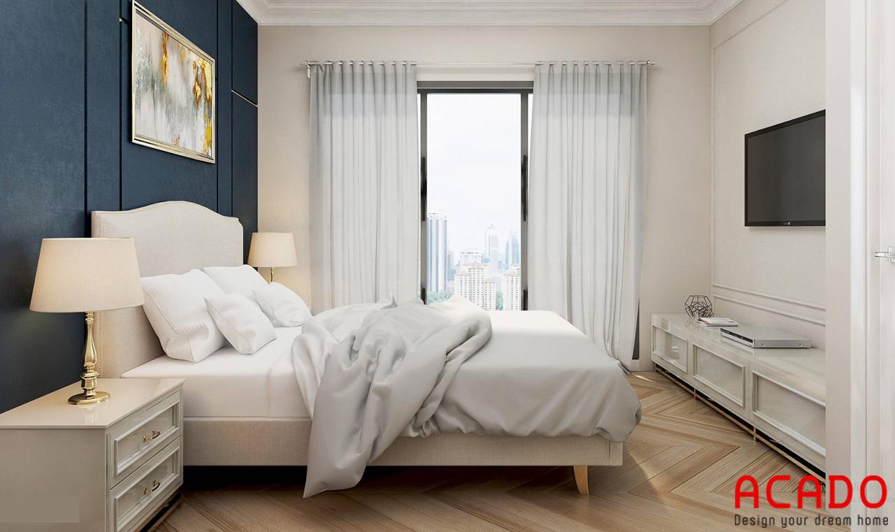 Giường ngủ gỗ công nghiệp trắng trẻ trung cho phòng ngủ thêm tinh tế, hiện đại