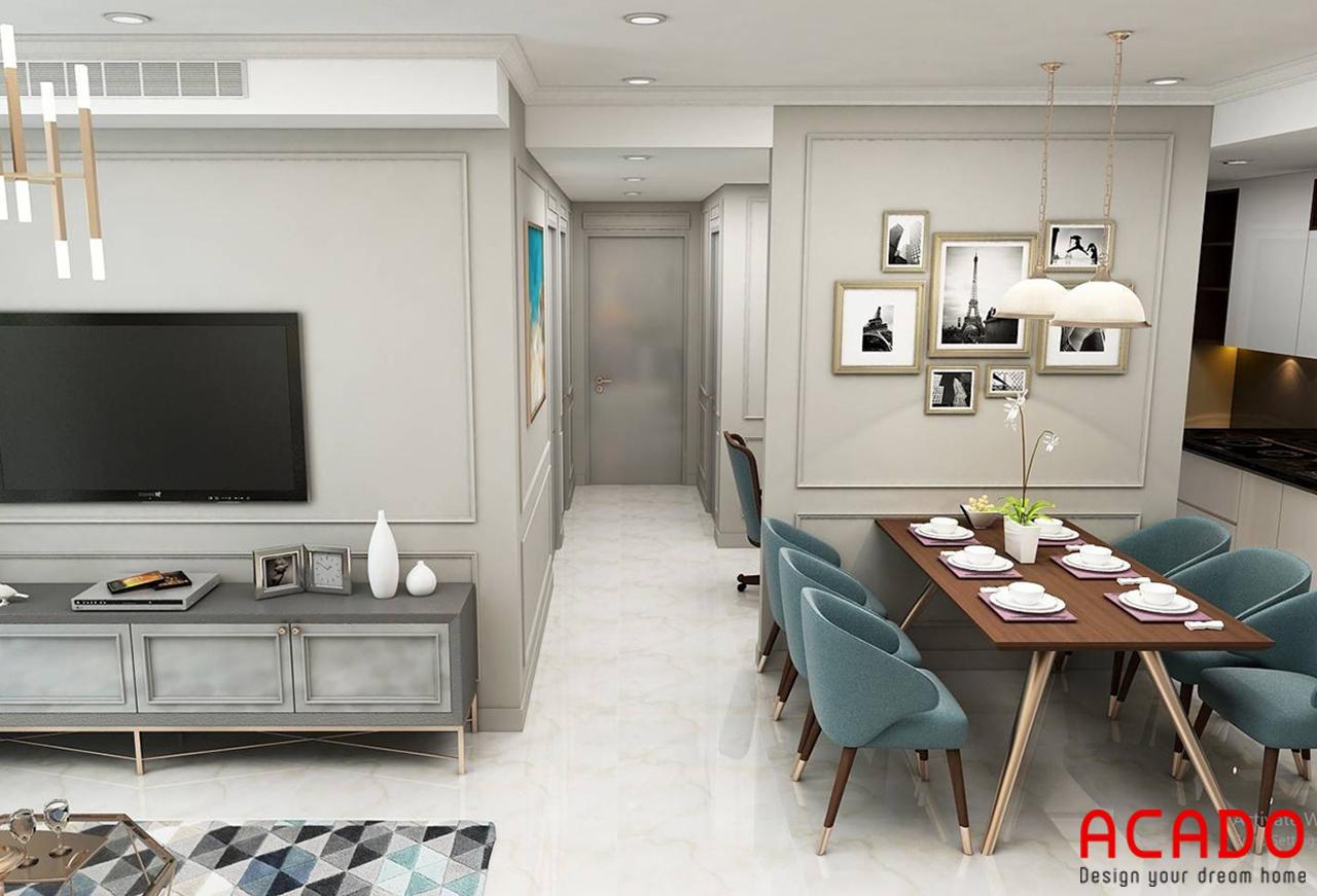 Bộ tủ bếp màu trắng chất liệu gỗ công nghiệp thiết kế hiện đại và đầy đủ tiện nghi cho không gian bếp