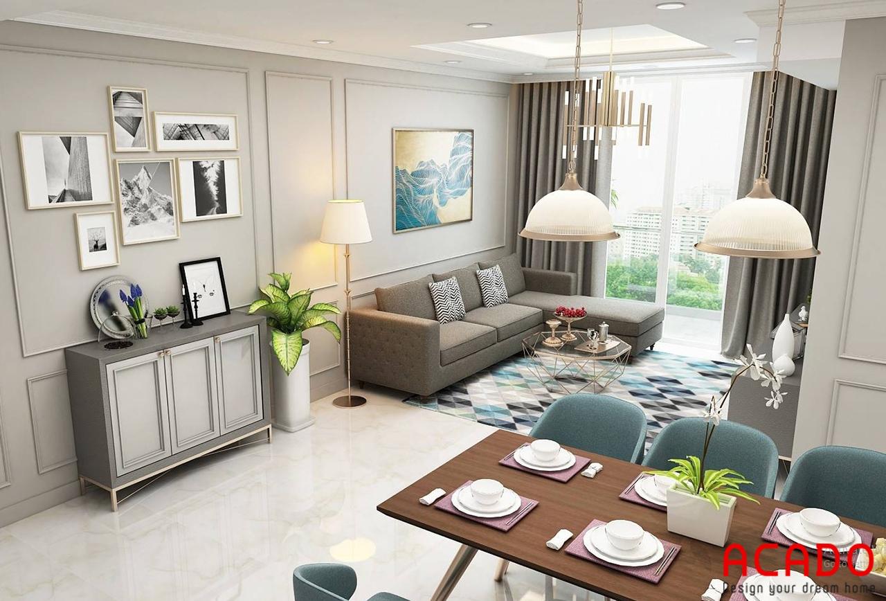 Phòng khách chung cư rộng 200m2 được thiết với các gam màu sáng