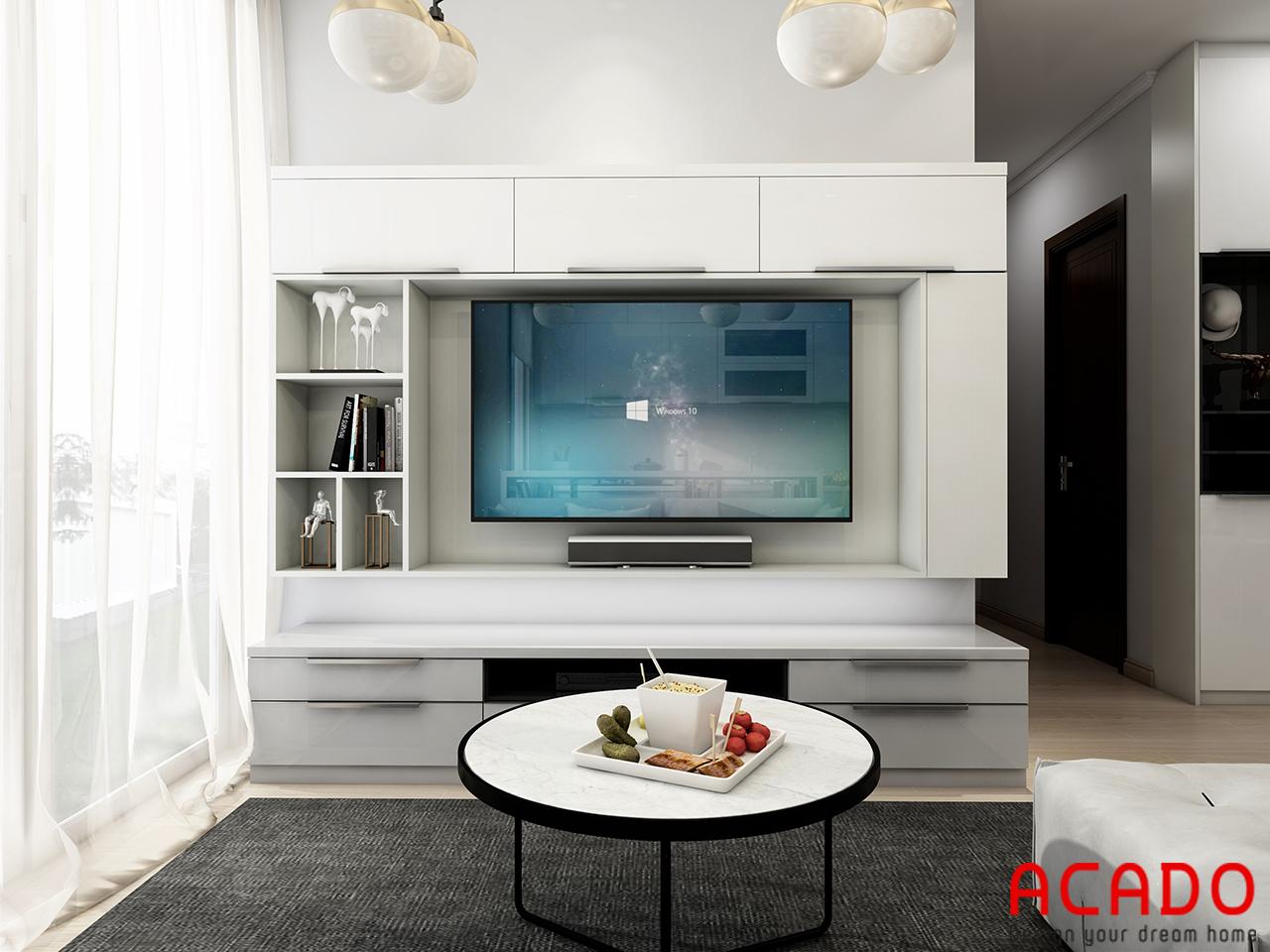 Thiết kế kệ tivi hiện đại chất liệu gỗ công nghiệp trắng tinh tế