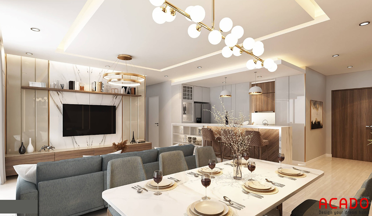 Bố trí bộ bàn ghế ăn màu sáng cho không gian thêm rộng dãi hơn