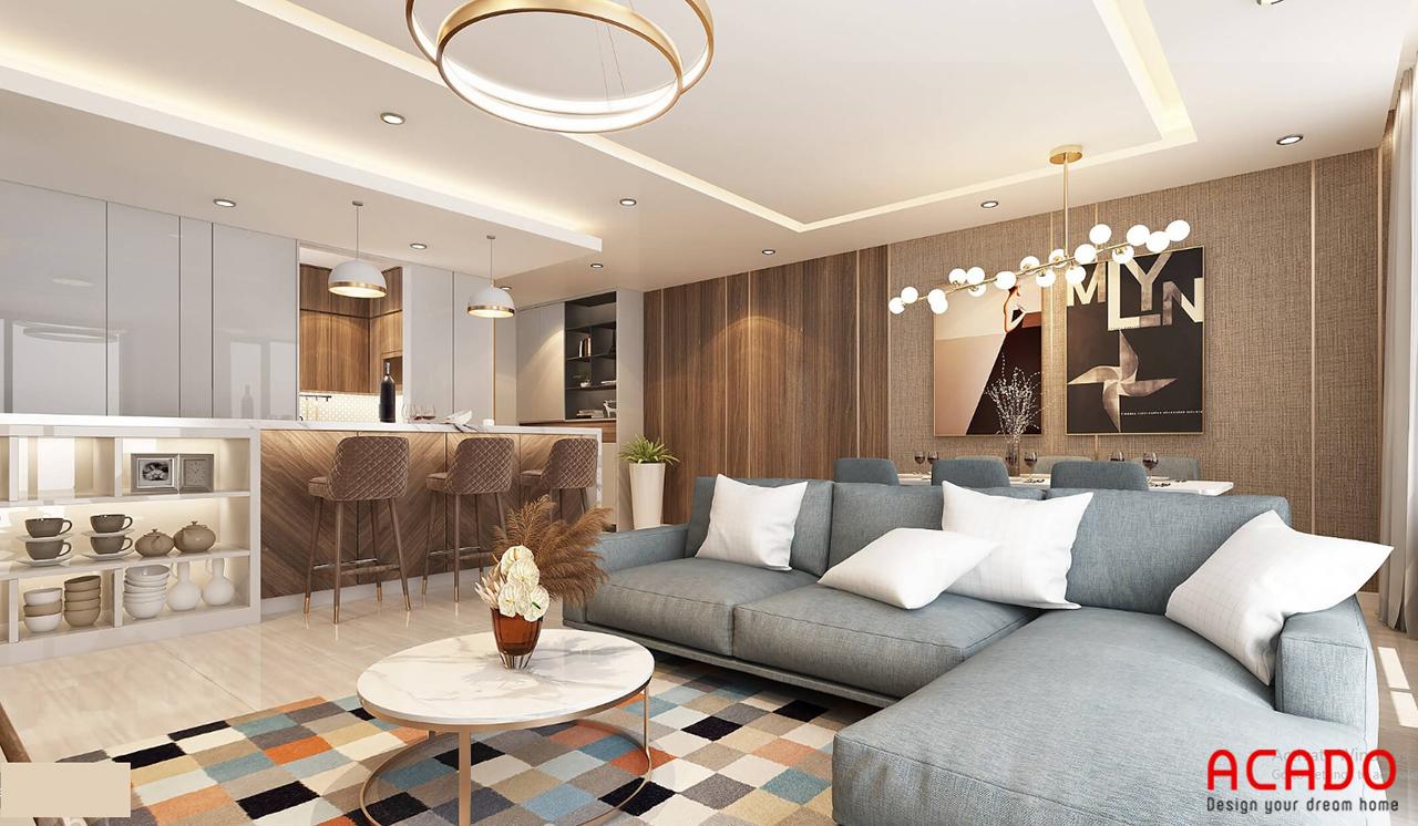 Phòng khách chung cư 3 phòng ngủ khá rộng dãi và hiện đại - thiết kế bộ sofa trẻ trung