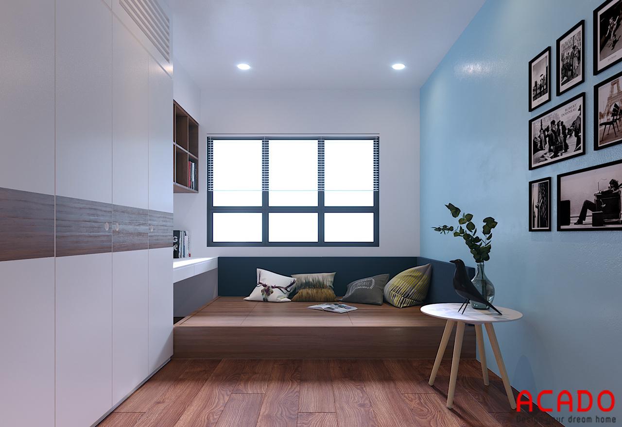 Phòng ngủ có diện tích nhỏ nen bố trí các đồ vật đơn giản nhưng đầy đủ công năng