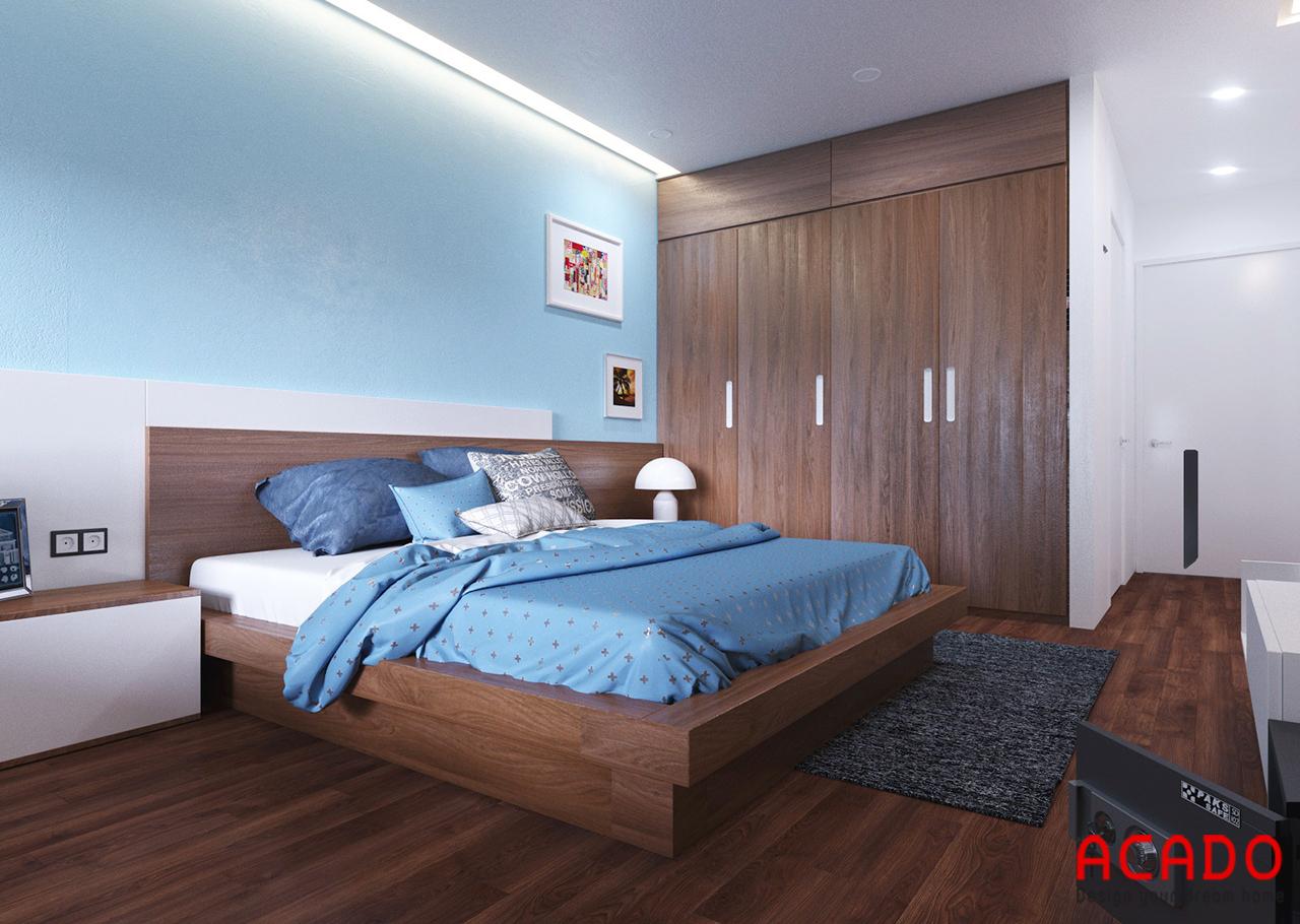Tủ quần áo cũng được làm từ chất liệu gỗ tự nhiên cho đồng bộ với không gian