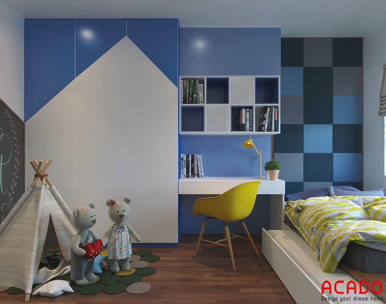 Bày trí các đồ nội thất trong phòng ngủ cho bé gam màu xanh nổi bật và thu hút các bé