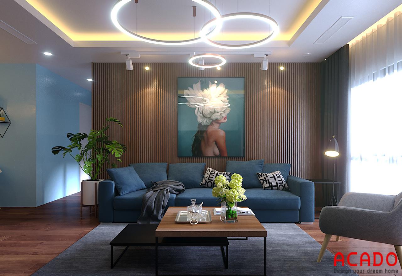 Bộ sofa xanh than nhạt hiện đại, tạo cảm giác ấm cúng cho phòng khách